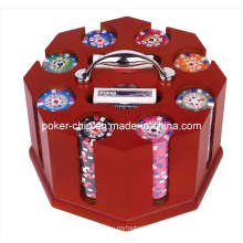 200PCS Poker Chip Set in Square Corner Wooden Rotating Caddy (SY-S40)